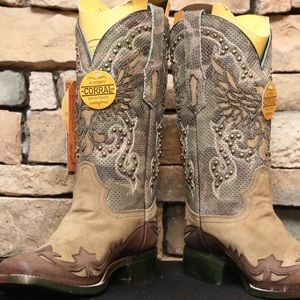 Women's Brown Camo Overlay Studded Corral Boots